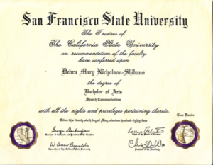 BA in Speech Communications from San Francisco State University conferred May, 1984